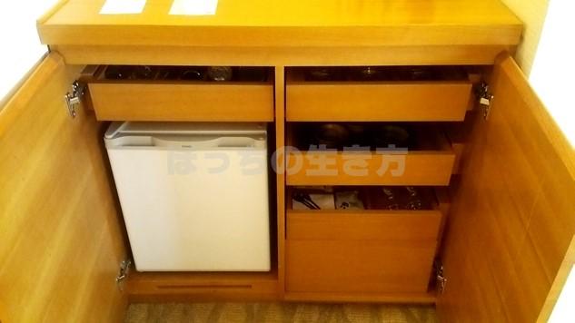 シェラトン広島のデラックスコーナーキングルームの冷蔵庫