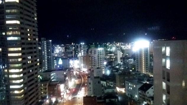 シェラトン広島のデラックスコーナーキングルームの夜景