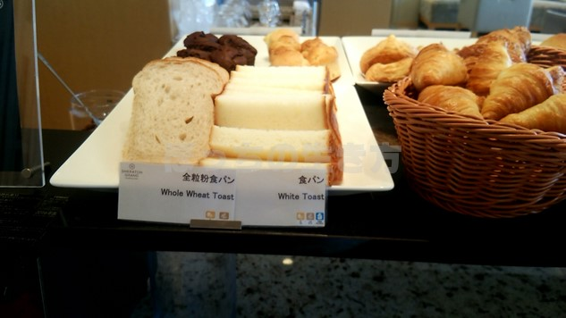 シェラトン広島のクラブラウンジ朝食の食パン