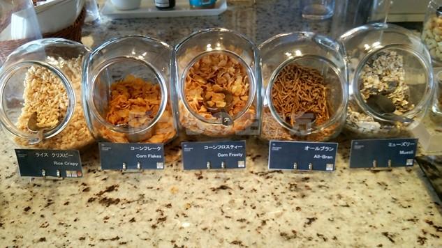 シェラトン広島のクラブラウンジの朝食シリアル