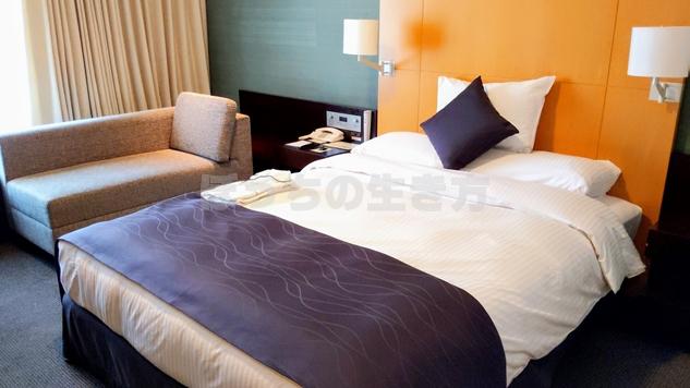 リーガロイヤル大阪のエグゼクティブフロアのベッド