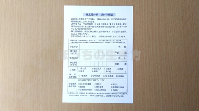 進学会の株主優待券申し込み用のハガキ