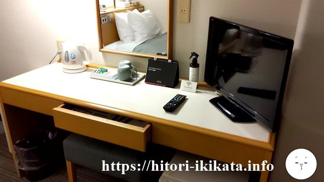 リソル町田のシングルルームの机とテレビ