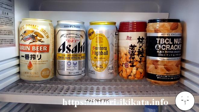 シェラトン都ホテル東京の冷蔵庫のジュース
