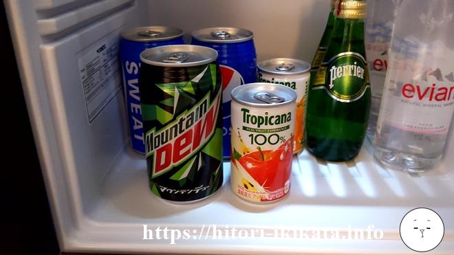 シェラトン都ホテル東京の冷蔵庫のオレンジジュース