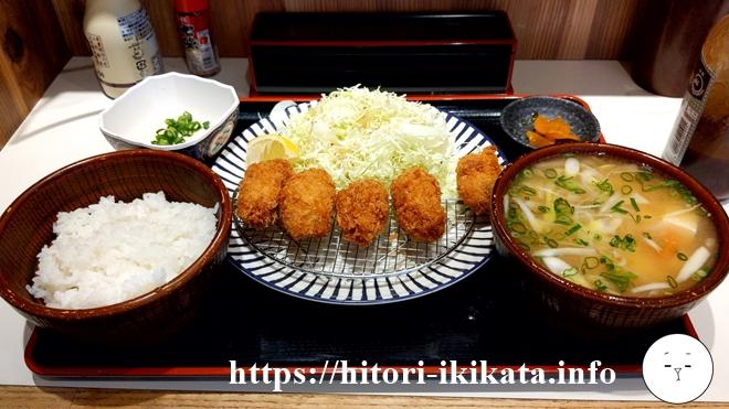 平井駅前の大衆食堂あづまけんじでランチのカキフライ定食