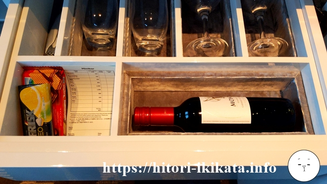 東京マリオットホテルのミニバーワイン